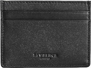 Lawrence London ® Mens Credit Card Holder, Genuine Leather, RFID Blocking Minimalist Wallet (Black), Dual Sided with 5 Poc...