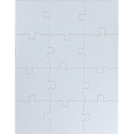 Hygloss Products, Inc Blank Decorating Kids Jigsaw Activity, Use As Party Favors, DIY Invites and More-White, Sturdy – 8.5 x 11 Inches, 12 Pieces, 4 Puzzles with Envelopes