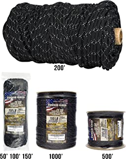 TOUGH-GRID New 700lb Double-Reflective Paracord/Parachute Cord - 2 Vibrant Retro-Reflective Strands for The Ultimate High-Visibility Cord - 100% Nylon - Made in USA.