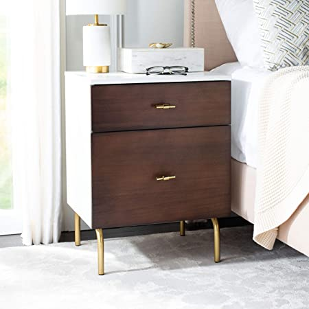 Leick Home Gold Metal And Wood Night Stand Nightstand Walnut Furniture Decor