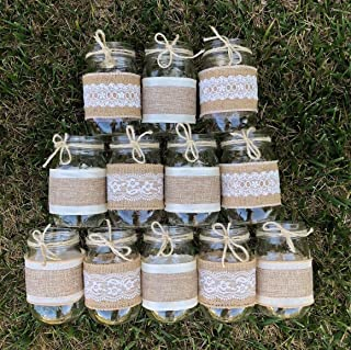 Burlap and Lace Sleeves for Mason Jars, Sleeves and Twine Only, Jars not included, Set of 12, Made to fit Ball Pint 16 oz. Jars