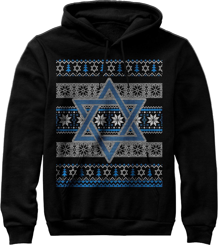 TeeLucky Happy Jewish Holidays Merry Chrismukkah Ugly Sweater Hanukkah Unisex Hoodie