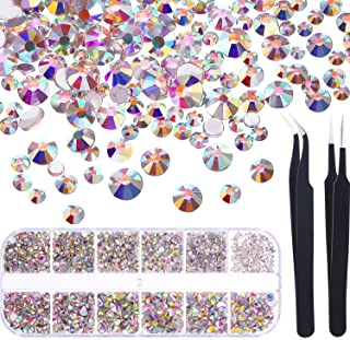 TecUnite 1728 Pieces Crystals Nail Art Rhinestones Round Beads Flatback Glass Charms Gems Stones and 2 Pieces Tweezers wit...