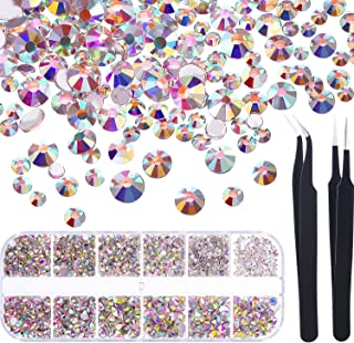 TecUnite 1728 Pieces Crystals Nail Art Rhinestones Round Beads Flatback Glass Charms Gems Stones and 2 Pieces Tweezers with Storage Organizer Box, SS3 6 10 12 16 20, 288 Pieces Each Size (Crystals AB)