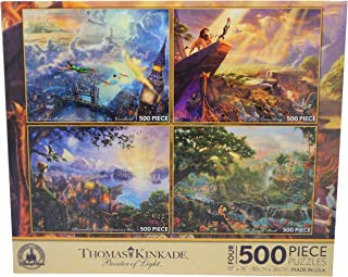 Disney Thomas Kinkade Set of 4 500 Piece Puzzles Puzzle Lion King Pinocchio Peter Pan Jungle Book