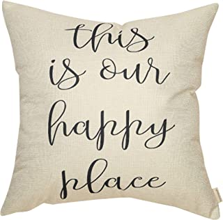 Fahrendom Rustic This is Our Happy Place Farmhouse Style Sign Spring Summer Gift Cotton Linen Home Decorative Throw Pillow Case Cushion Cover with Words for Sofa Couch, 18 x 18 in