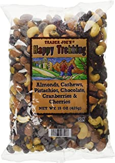 Trader Joe's Happy Trekking...Almonds, Cashews, Pistachios, Chocolate, Cranberries & Cherries...15 oz. bag...Low Sodium...No Gluten