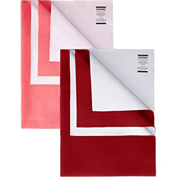 Amazon Brand - Solimo Baby Water Resistant Dry Sheet Small 70cm x 50cm Dark Pink and Red