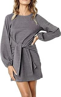 Women's Autumn Winter Cotton Long Sleeves Elegant Knitted Bodycon Tie Waist Sweater Pencil Dress