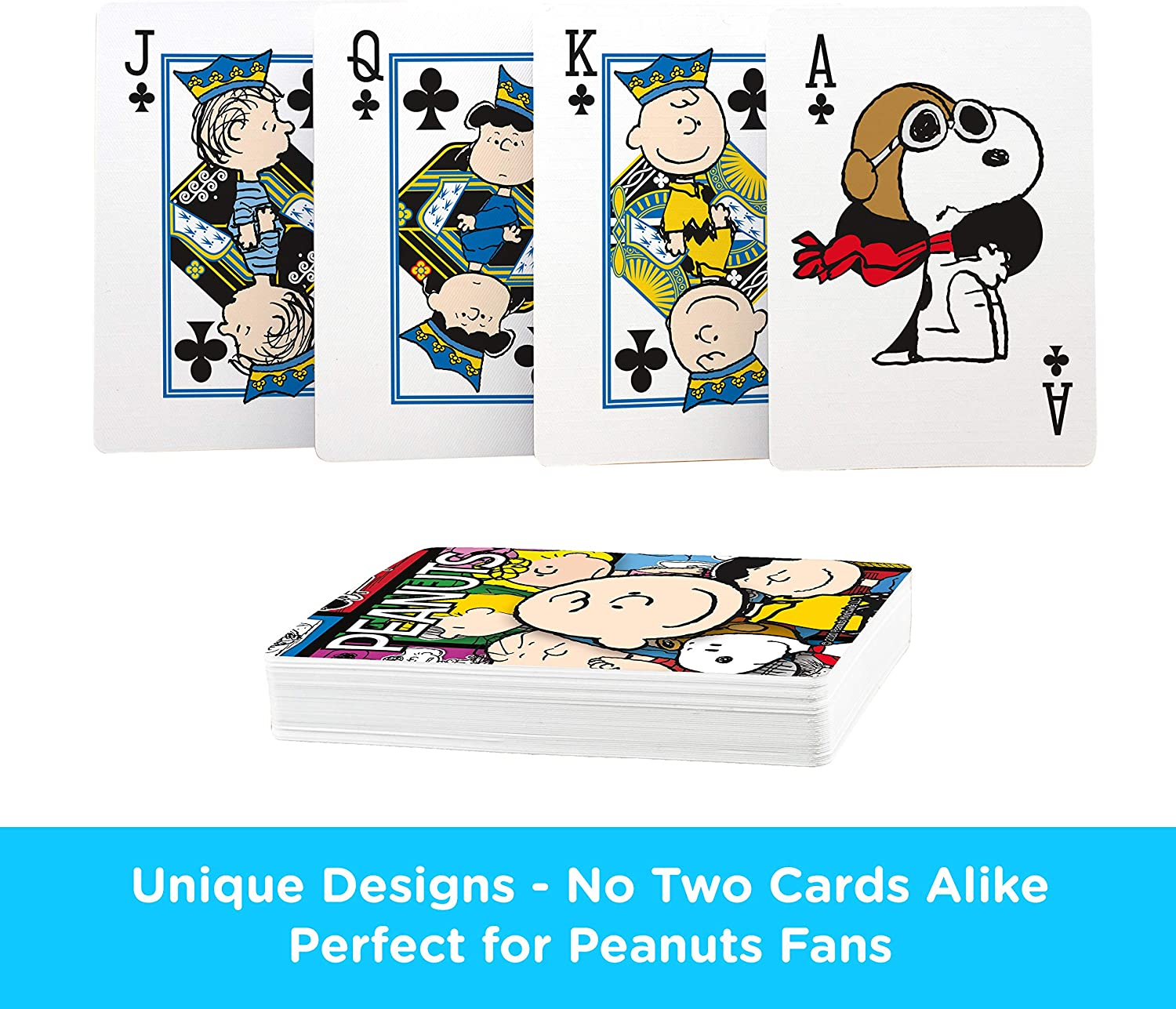 AQUARIUS Peanuts Playing Cards - Peanuts Cast Deck of Cards for Your Favorite Card Games - Officially Licensed Peanuts Merchandise & Collectibles - Poker Size with Linen Finish : Toys & Games