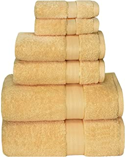 GLAMBURG 700 GSM Premium Cotton 6-Piece Towel Set - 100% Combed Cotton - Luxury Hotel & Spa Quality - Durable Ultra Soft Highly Absorbent - Yellow