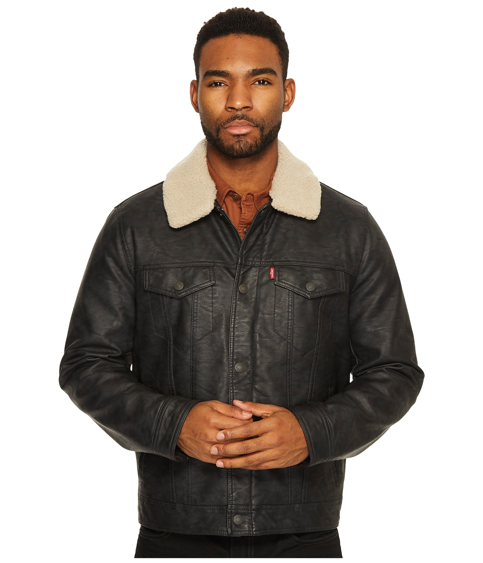 Levi's hooded quilted faux leather bomber jacket womens