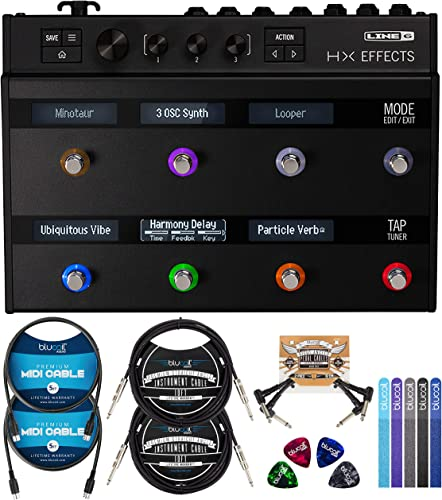 lowest Line 6 HX Effects Processor Bundle with Blucoil 2-Pack of 10-FT Straight Instrument Cables (1/4in), 2-Pack of 5-FT MIDI Cables, 2-Pack of Pedal 2021 Patch Cables, 4x Guitar Picks, and 5x discount Cable Ties outlet online sale