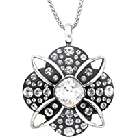 Crystaluxe Black Resin Pendant Necklace with Swarovski Crystals in Sterling Silver