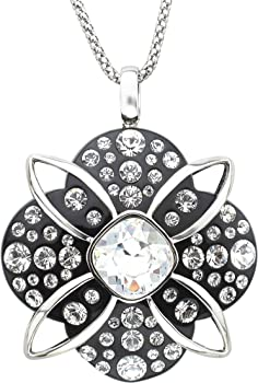 Crystaluxe Black Resin Pendant Necklace with Swarovski Crystals