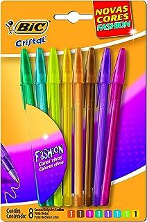 BIC 930188 - Caneta Cristal Fashion, Multicolor, pacote de 8