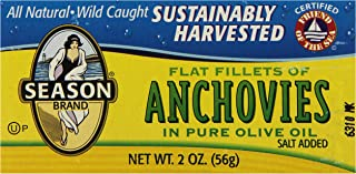 Season Flat Anchovies in Olive Oil, 2-Ounce Tins (Pack of 12)