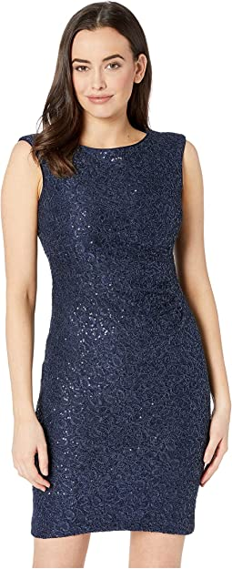 Sequin Lace Cap Sleeve Bodycon Dress with Side Tucks