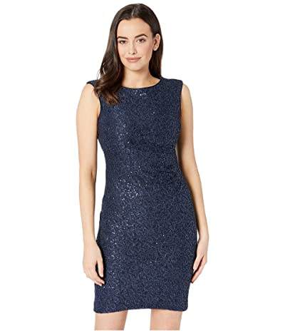 Vince Camuto Sequin Lace Cap Sleeve Bodycon Dress with Side Tucks (Navy) Women