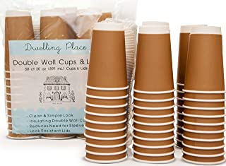 Premium 20 oz Disposable Coffee Cups with Lids (50 Ct) - Use your Coffee Maker then Pour into this Insulated Travel Cup, Skip Starbucks & Brew your Own Beans, Steep your Own Tea, Mix your Hot Cocoa!