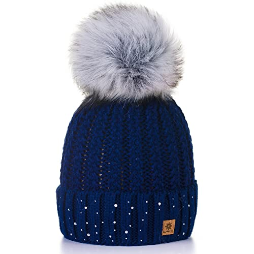 e4501cec141 4sold Womens Ladies Winter Hat Wool Knitted Beanie with Large Pom Pom Cap  SKI Snowboard Hats