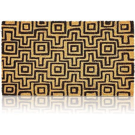 Black Patterned Nonslip Welcome Doormat, Coco Coir Mat (17 x 30 in)