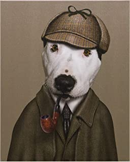 DIYペイント番号キット 子供 大人 - 動物探偵犬のシルクハット喫煙 - DIY キャンバスペインティング 数字 アクリル絵画 - アートクラフト ホームウォールデコレーション ペイント - 50x40 - フレームレス