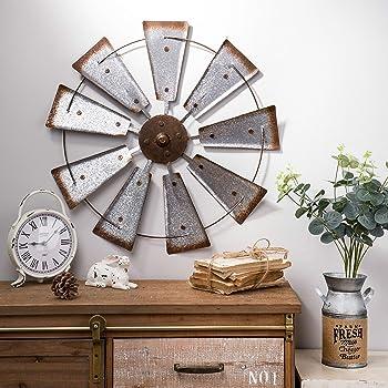 Amazon Com Glitzhome 22 Farmhouse Galvanized Windmill Wall Sculpture Home Decor Rustic Metal Rustic Wall Art Decoration Home Kitchen