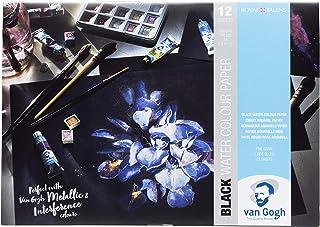 Van Gogh Black Watercolour Paper - A4 - Black Watercolour Paper, 12 Sheets, 360 gsm