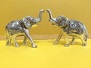 SAARTHI Metallic Ethnic Feng Shui Elephant Statue (Multicolour) - Set of 2