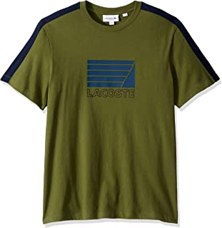 Lacoste Men's S/S Jersey with Fraphic Adjovokic Stripe Sleeve T-Shirt