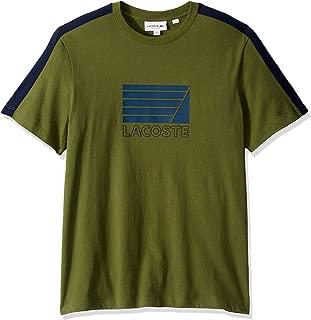 Lacoste Men's S/S Jersey with FRAPHIC ADJOVOKIC Stripe Sleeve T-Shirt Shirt, Marsh/Navy Blue, XXL