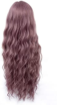 HUA MIAN LI Long Wavy Wig With Air Bangs Silky Full Heat Resistant Synthetic Wig for Women - Natural Looking Machine ...