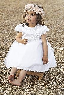 "Baby Girl Dedication Dress   Vintage   Burbvus Flower Dress Girl""G020""   Handmade Christening Baptism Outfit   Matching Diadem & Bonnet"