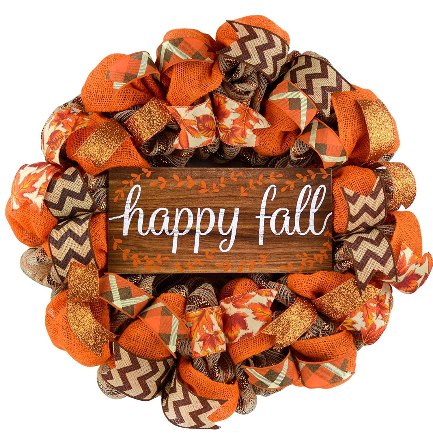 Happy Fall Wreath - Thanksgiving Limited time for free shipping Deco Mesh B Door Front Max 68% OFF
