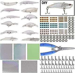Unpainted Crankbaits Blank Fishing Minnow Lure Kit - 291Pcs Fishing Pliers Scissors,Treble Hooks,Fishing Split Rings,Fishing Lure Sticker 3D Eyes DIY Fishing Tackle