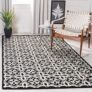 Safavieh Four Seasons Collection FRS448A Hand-Hooked Black and Ivory Indoor/ Outdoor Area Rug (5' x 8')