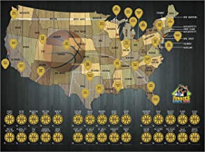 Junkies Sports Maps Scratch-Off Basketball Map, Poster, Stadium Map, Bucket List, Man Cave