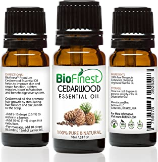 Biofinest Cedarwood Oil - 100% Pure Cedarwood Essential Oil - Promote Hair Growth & Boost Metabolism - Quality - Therapeutic Grade - Best For Aromatherapy - Free E-Book And Dropper(100Ml) (10Ml)