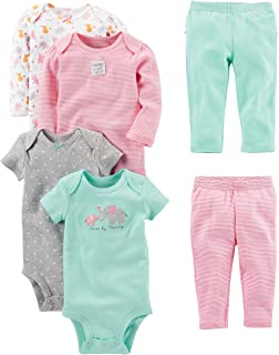 8452dedc8 Simple Joys by Carter's Baby Girls' 6-Piece Bodysuits (Short and Long Sleeve