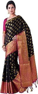 MIMOSA Kanjivaram Style Artifical Silk Saree Color: Black (4443-2461-2D-BLK-RNI)