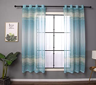 Taisier Home Faux Linen Print Sheer Curtains Voile Grommet Top Style Ombre Semi Sheer Curtains for Nursery Bedroom Living Room Set of 2 Curtain Panels 52 x 84 inch Sky Blue&Cream Gradient Design