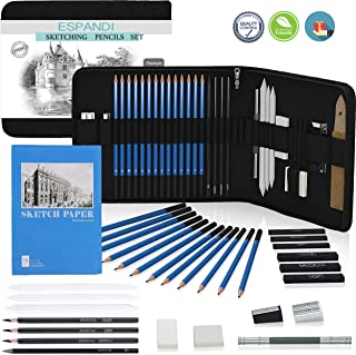 Iespandi Charcoal Drawing and Sketching Pencil Set for Beginners & Professionals; H&B Graphite Shading Wood Pencils; Art Supplies Kit for Artists; Tools and Sketch Pad for Adult, Teens and Kids