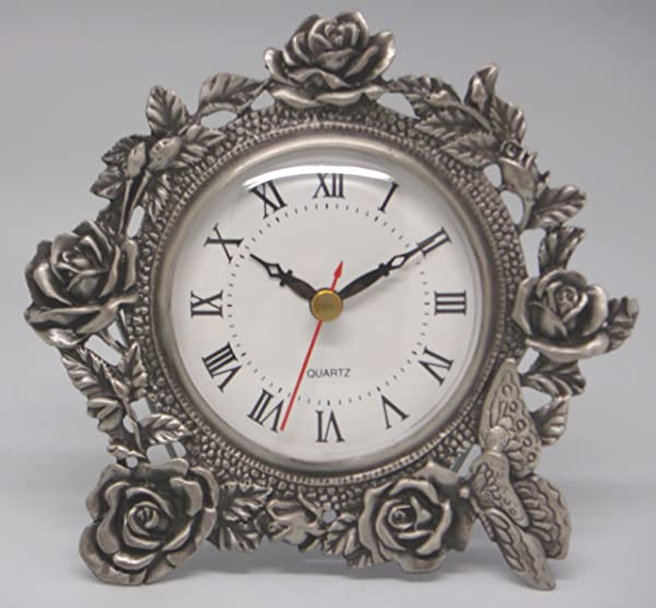 Quartz Clock Roses Butterfly