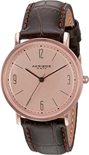 Akribos XXIV Womens Analogue Japanese-Quartz Watch with Leather Calfskin Strap AK922BRRG