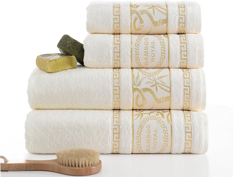 Ixirhome Premium Quality Turkish Towels (Bamboo Bathroom Sets, Light Cream)