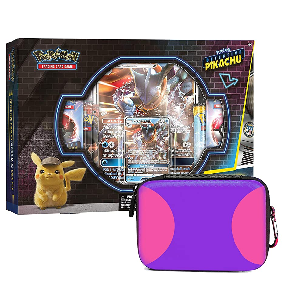 Detective Pikachu Greninja-Gx Case File: Pokemon TCG: 2 Greninja Foil Trading Cards + 7 Booster Pack + 1 Master Themed Zipper Card Case