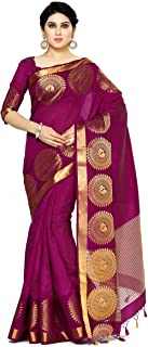 MIMOSA Women's Banarasi Tussar Silk Saree Unstiched Blouse Piece (4073-272-MEJ_Purple)