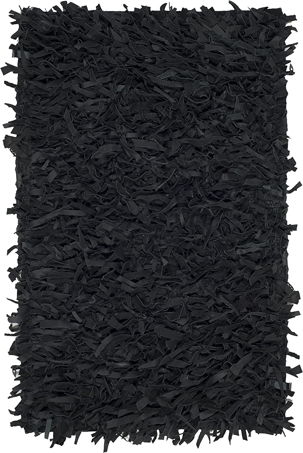 Safavieh Leather Shag Collection LSG601A Hand-Knotted Black Decorative Runner (2' x 8')