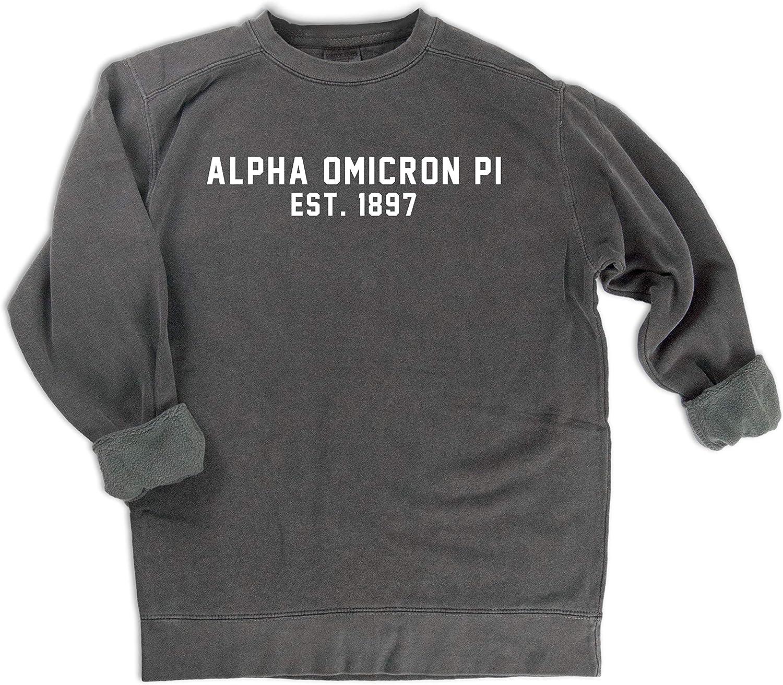 Comfort colors Alpha Omicron Pi est. 1897 Sweatshirt   Sgoldrity Sweatshirt Grey